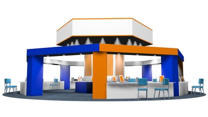 3D model of a kiosk for sales in an octagonal fair with chairs for customers and vendors on a circular carpet. Stand in white, blue and orange colors on white background. With spaces for publicity