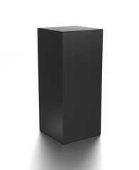 Black vertical blank box from front side far angle. 3D illustration isolated on white background.