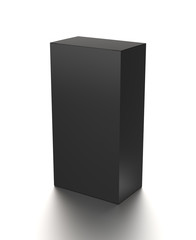 Black vertical blank box from front top side angle. 3D illustration isolated on white background.