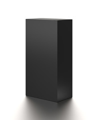 Black vertical blank box from top side far angle. 3D illustration isolated on white background.