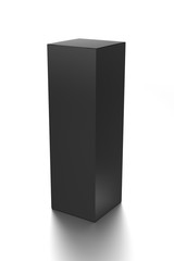 Black long vertical blank box from front top side angle. 3D illustration isolated on white background.