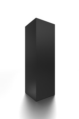 Black long vertical blank box from front side angle. 3D illustration isolated on white background.