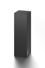 Black long vertical blank box from front top far angle. 3D illustration isolated on white background.