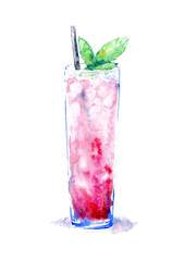 Cocktail with ice mint.Picture of a alcoholic drink.Watercolor hand drawn illustration.Isolated sketch.White background.