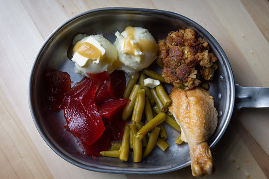 Thanksgiving dinner in a military mess kit
