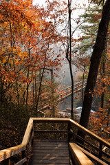 Staircases Leading to Suspension Bridge Over Tallulah River Georgia USA