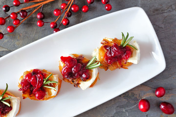 Spoed Fotobehang Voorgerecht Holiday crostini appetizers with cranberries, brie and caramelized onions. Above view, on a serving plate over a dark background