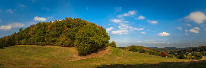 Panoramic landscape at the Odenwald near Lampenhain in Germany.
