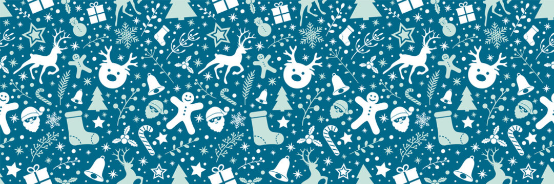 Concept of Christmas wrapping paper with seamless texture. Vector