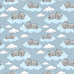 sleeping bears on the clouds pattern