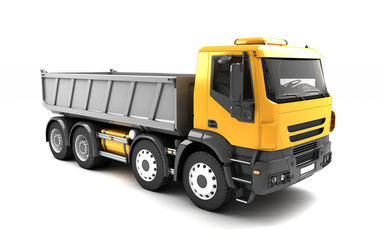 Front side view of the tipper isolated on white background. Right side view. Perspective. 3d illustration.