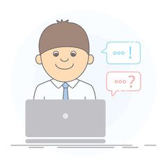 Concept of technical support on the Internet. A friendly young man working on computer, supporter, online support or chatting, answers and questions. Isolated vector illustration in line style.