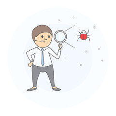 Concept of bug searching. Businessman holding magnifying glass in hand, scanning and found insect, computer virus. Hand drawn style, vector illustration, white background.