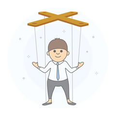 Political leader or a businessman who is guided by someone else. Marionette man controlled by strings from above. Hand drawn style, vector illustration, white background.