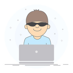 Concept of anonymous and security. Anonymous user wearing black glasses sitting at laptop. Hand drawn style, vector illustration, white background.
