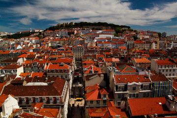 View of cityscape Old City Lisboa Lisbon Portugal