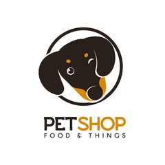 Pet shop vector logo concept. Isolated logotype of funny puppy Dachshund in a circle. Head of Hunting dog s in flat style on white background