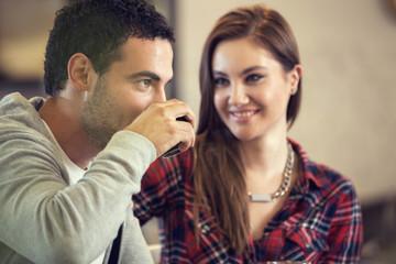 Amorous girl looking her boyfriend