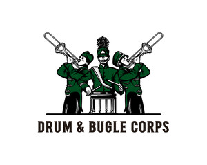 Hand Drawing Vector Marching Band Club Playing Music with a Drum and Trumpet Sign Symbol Festival Logo Template Design Inspiration