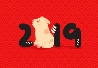 2019 Chinese New Year. Zodiac sign Year of the pig.