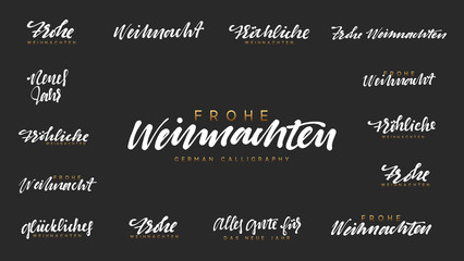 German lettering Frohe Weihnachten, Frohliche Weihnachten. Merry Christmas and Happy New Year, white text calligraphy