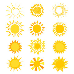 Sun vector sunny icon with yellow sunlight and sunshine emoticon illustration set of bright sunburst weather sunset or sunrise sign isolated on white background