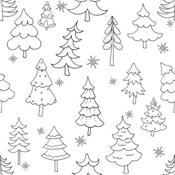 Seamless pattern of hand drawn doodle style Christmas trees isolated on white background. Vector illustration.