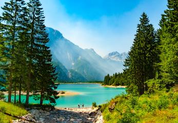 Cave del Predil lake framed by fir trees