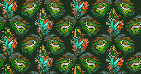 Seamless woven pattern. Design print for textile, fabric, wallpaper, background. Can be used for printing on paper, packaging, in textiles. Watercolor pattern with the eyes of a hippopotamus.