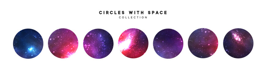 Space abstract backgrounds. Starry bright circular textures vector. Isolated on white background