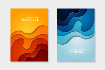 Set of cover design abstract with blue and orange paper cut shapes. Cover design with abstract background. Paper cut vector illustration for banner, presentation, and invitation.