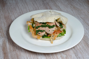 homemade chicken sandwich with vegetables
