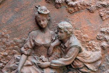 Antique cast iron wall sculpture
