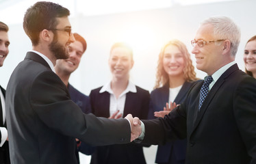 Business handshake and business people conce