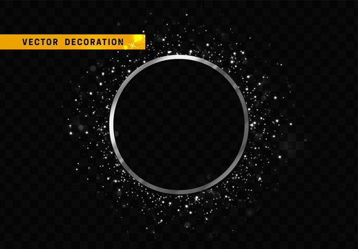 Silver round frame isolated on transparent background. Glitter border shining particles, of light effects