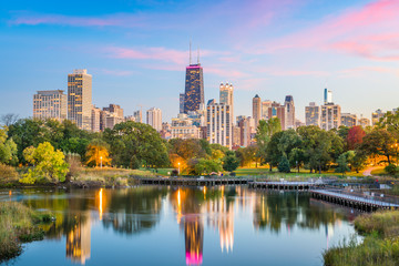 Fotobehang Chicago Lincoln Park, Chicago, Illinois Skyline