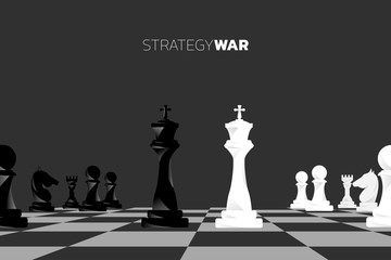chess piece silhouette vector black and white on board game. icon for business planning and strategy war.