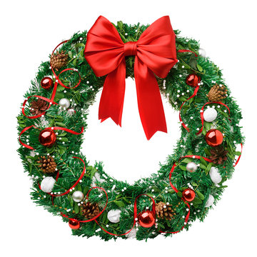 christmas wreath, red ribbon bow, isolated on white background, clipping path