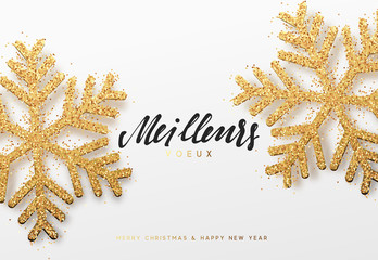 Meilleurs voeux. Joyeux Noel. Xmas background with shining golden snowflakes. Christmas greeting card vector Illustration.