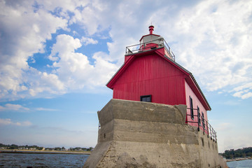 Grand Haven Lighthouse. Classic historical lighthouse on the shores of Lake Michigan in Grand Haven, Michigan.