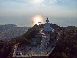 Big buddha Phuket Aerial view Sunset Thailand