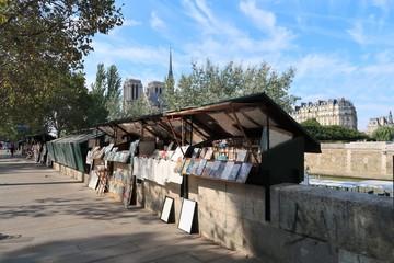 Bouquiniste sur les quais de Seine à Paris, devant Notre-Dame (France)