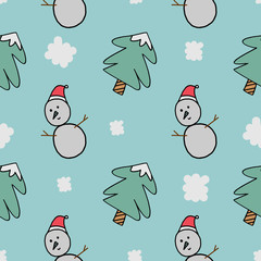 Winter snowman seamless pattern vector illustration. Good for baby, child, and kids fashion textile print.