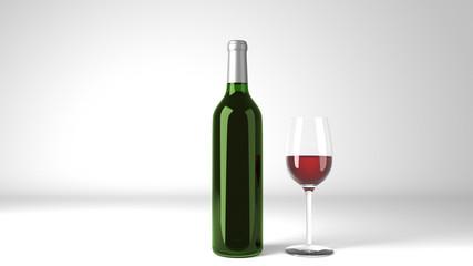Red Wine Bottle Label Mockup 3d Render