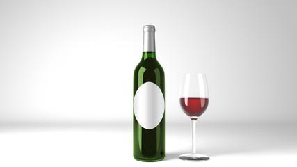 Red Wine Bottle Oval Label Mockup 3d Render