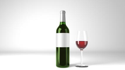 Red Wine Bottle Square Label Mockup 3d Render