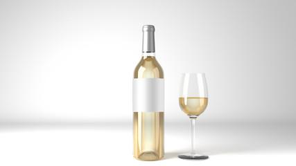 White Wine Bottle Square Label Mockup 3d Render