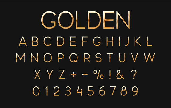 Gold font and alphabet. Golden letters and numbers on black background