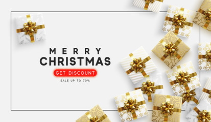 Christmas vector background. Xmas sale, holiday web banner. View top on composition gift box.