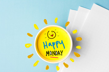 Happy monday quote and coffe cup on blue background. Time to break concept.